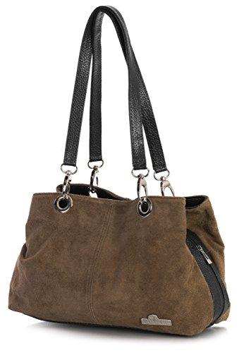 Italian Suede Zip Top Small Dark Lush Tan Womens Black Pockets Multi Bag HOLLY Twin Shoulder LiaTalia fpwq5nT