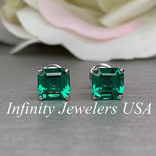 (Asscher cut green emerald screw back stud earrings )