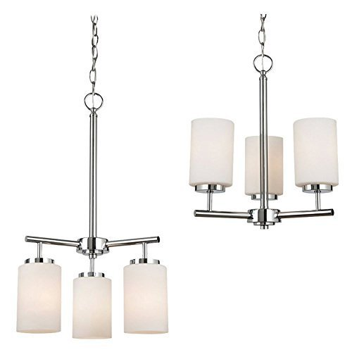 160BLE-05 Oslo 3-Light Chandelier, Chrome Finish with Cased Opal Etched Glass by Sea Gull Lighting Products LLC (Oslo Chandelier 5 Light)