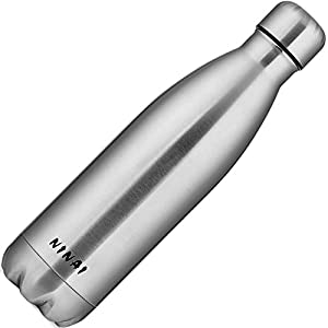 NINAI - Insulated Double Wall Vacuum Stainless Steel Water Bottle, 17 Ounce, Silver