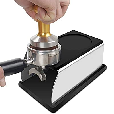 Coffee Temper Stand, DLAND Sturdy Stainless Steel Tamping Stand for Coffee Machine and Coffee Tamper Storage Base with Mat Hand Coffee Tampers Accessories by DLAND