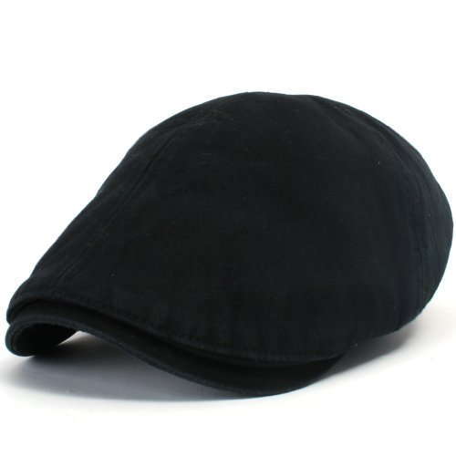 ililily New Men's Cotton Flat Cabbie Hat Gatsby Ivy Caps Irish Hunting Hats Newsboy with Stretch fit - 003-2,Black,One Size - Ivy Flat Cap