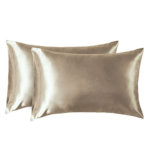 Bedsure Satin Pillowcase for Hair and Skin, 2-Pack - King Size (20x40 inches) Pillow Cases - Satin Pillow Covers with Envelope Closure, Taupe