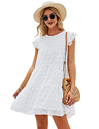 LOMON Women's Summer Ruffle Sleeve Tiered Babydoll Flowy Swing Mini Dress Boho Flowy Pleated Dress White Dots M