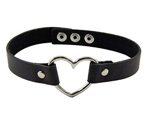 Vintage Leather Rivet Heart Ring Collar Punk Gothic Choker Charm Necklace Black