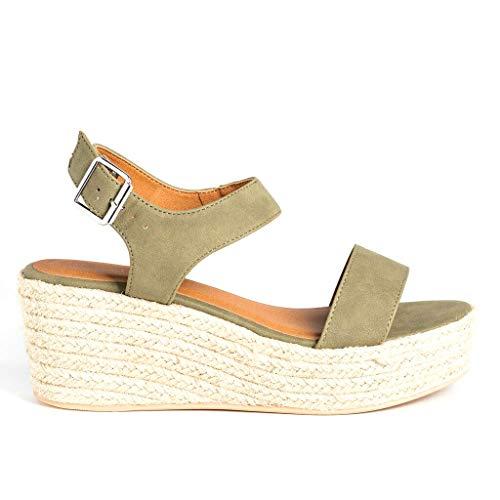 SODA Women's Open Toe Ankle Strap Espadrille Sandal (8, Khaki)