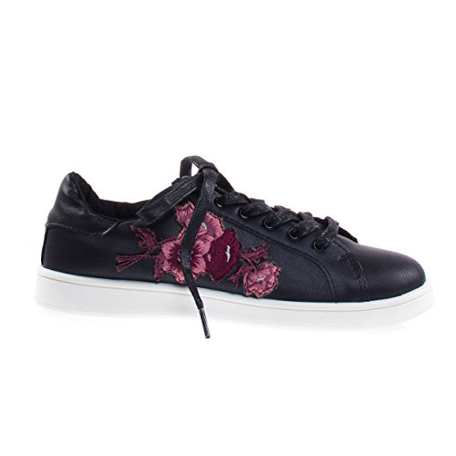 Habit15M Black Floral Patchwork Embroidered Heat Press Lace Up Sneaker, White Platform -8.5