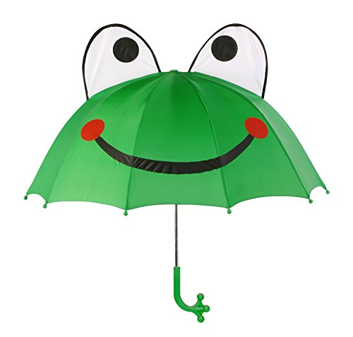 Kidorable Kids Frog Umbrella, Green, One Size for Toddlers and Big Kids, Lightweight Child-Sized Nylon Rain Proof Umbrella (Frog Umbrella)