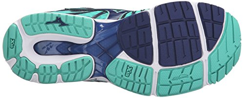 Mizuno Womens Wave Sayonara 4 Scarpa Da Corsa Blu Profondità-verde Elettrico