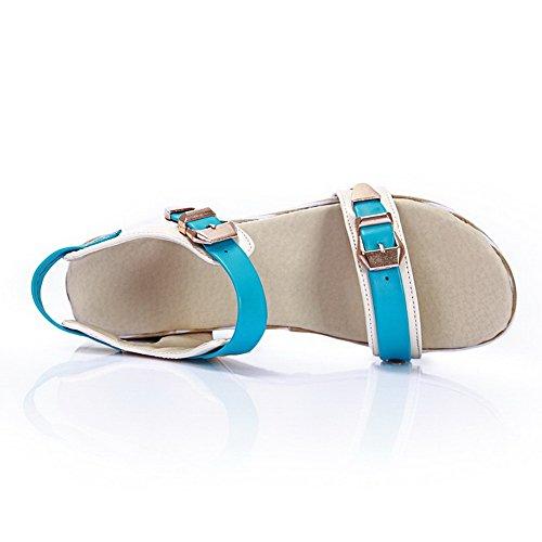 Amoonyfashion Donna Pu Assortiti Fibbia Colore Open Toe Gattini-tacchi Sandali Blu