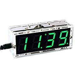 KKmoon Compact 4-digit Digital LED Talking Clock DIY Kit Light Control Temperature Date Time Display Transparent Case (Green)