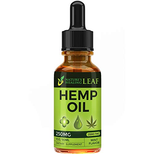 Hemp Oil Extract Drops 250 MG for Pain Relief, Sleep Aid, Anxiety Relief, Stress Relief That's 100% Pure Natural Non-GMO CO2 Ext