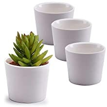 MyGift 3.5-Inch White Ceramic Cylindrical Succulent Plant Pots, Small Flower Planter Containers, Set of 4