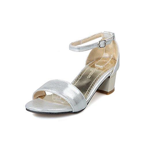 VogueZone009 Women's Open Toe Kitten-Heels PU Solid Buckle Sandals Silver gR0t7mVM