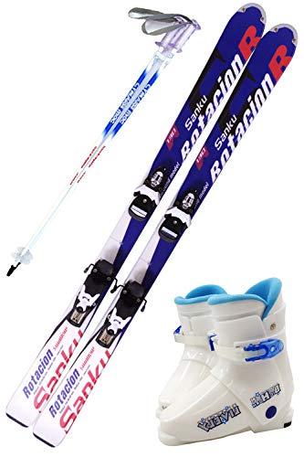 【4点セット】 SWALLOW (スワロースキー) ジュニアスキーセット 18-19 ROTACION SANKU キッズ 子供用 (スキー板/ビンディング/ストック/ブーツ) B07JCRNKS8 ストック90cm|スキー130cm(ワクシング施工)/ブーツ24cm  ストック90cm