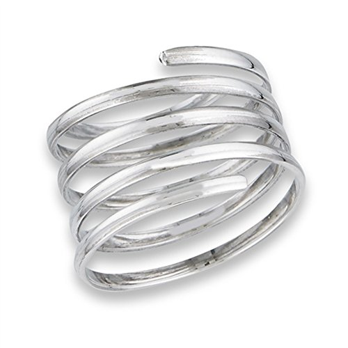 Ring Swirl Open (Open Spring Swirl Spiral Wide Flexible Ring .925 Sterling Silver Band Size 8)