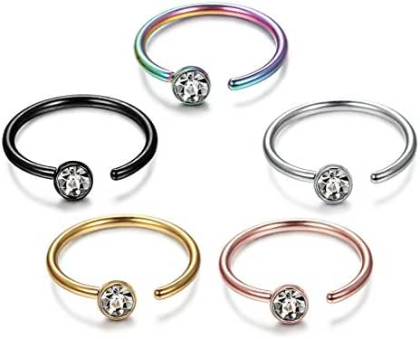 ORAZIO 5PCS 20G Stainless Steel Nose Ring Hoop CZ Body Ear Piercing 5 Mixed Colors