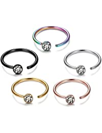 5-12Pcs 20G Stainless Steel Nose Ring Hoop CZ Body Ear Piercing 5 Mixed Colors