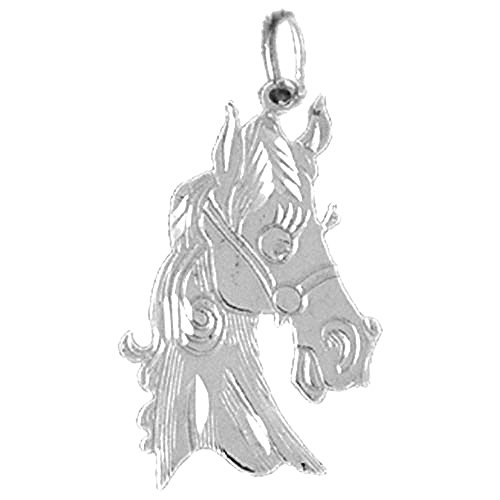 (Jewels Obsession Solid 14K White Gold Horse Head Pendant with 24