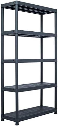 N/O Viel Spaß beim Einkaufen mit Lagerregal Schwarz 250 kg 80 x 40 x 180 cm Kunststoff