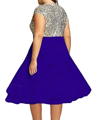 Midi Stitching Sequins Party Casual Blue Women Domple Tall Dress Chiffon Big Swing HxFz7nw4pq