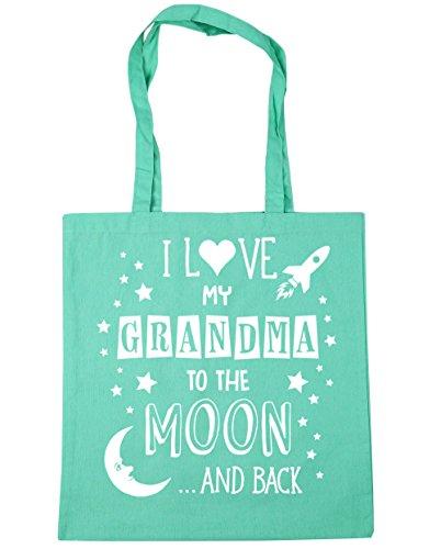 """HippoWarehouse bolsa tote para compras, gimnasio, playa con la inscripción """"I Love My Grandma to the Moon and Back"""" en azul, 42cm x 38cm, capacidad de 10litros verde menta"""
