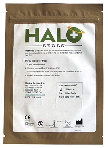 Halo Chest Seal High Performance Occlusive Dressing for Trauma Wounds, 2 Count