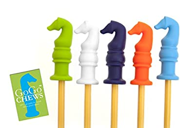 GoGoChews Chewable Pencil Toppers, Oral Therapy Chew, Special Needs Sensory Motor Aid, Chewing Aid, 5 Pack With Exclusive Colors