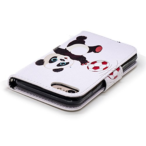Couverture de Swag Coque Housse Leather Wallet Protection Cuir COZY Protector Coquille Fonction Coque avec de HUT Etui Etui iPhone Portefeuille Stand 7 Flip Cover Case PU iPhone football pour de Panda Fentes et 8 Cart TwzSqa