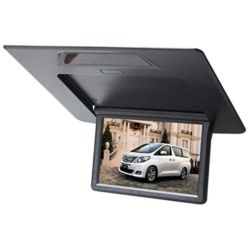 (Z-SGYX 13 Inch Flip Down TFT LCD Monitor Car Roof Mounted Monitor Player Car Ceiling Display Monitor with Two Video Input Display,Gray)