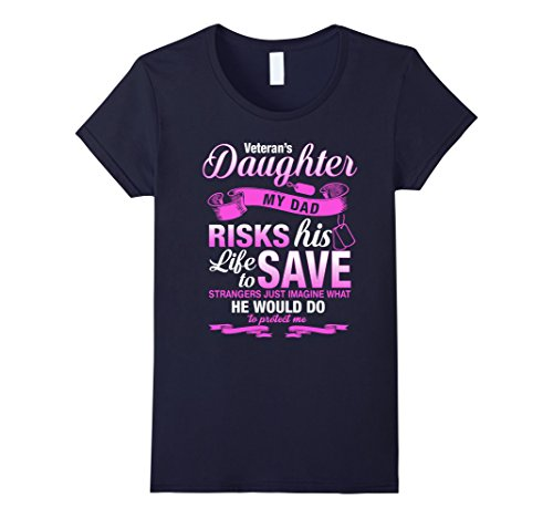 Women's Daughter of A Veteran Shirt Birthday Gift For Girls Small Navy