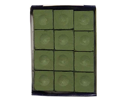 (Sterling Gaming Silver Cup Billiard Chalk Cubes in Olive - 12 Pc Set)