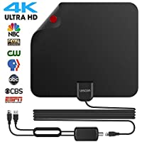2018 Newest Best 80 Miles Long Range TV Antenna Freeview Local Channels Indoor Basic HDTV Digital Antenna for 4K VHF UHF with Detachable Ampliflier Signal Booster Strongest Reception