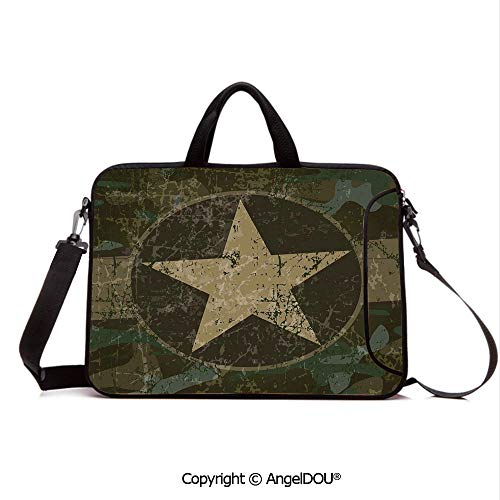AngelDOU Laptop Shoulder Bag Waterproof Neoprene Computer Case Grunge Dusty Dirty Design with a Star in Circle Undercover War Theme with Handle Adjustable Shoulder Strap and External Side Pocket Arm