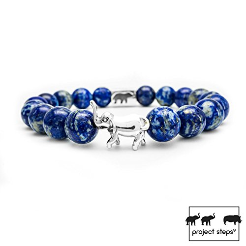 - Project-Steps Jewell bracelet Premium Silver Elephant with Lapis Lazuli gemstones for Men and Women | Support wildlife!