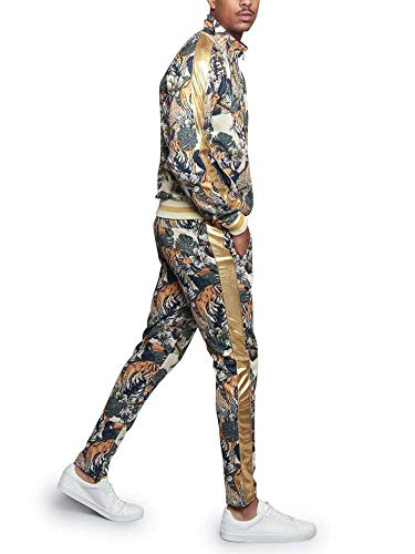G-Style USA Royal Floral Tiger Track Suit ST559 - Off-White - X-Large - E4F