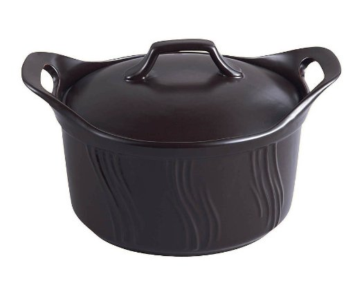 Lorren Home 1-3/4-Quart Stove Top to Oven Black Terracotta Casserrole with Cover
