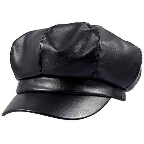 Sportmusies 8 Panels Newsboy Caps for Women, PU Leather Cabbie Painter Hat Gatsby Ivy Beret Cap, Black