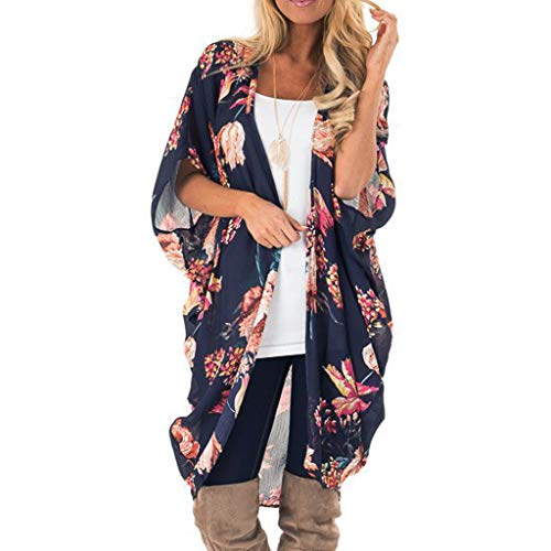 YuhooSUN Women Loose Kimono Cardigan Beach Cover Up Floral Chiffon Capes Middle Sleeve Chiffon Smock Easy Blouse Tops Navy