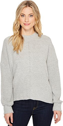 Drop Neck Sweater (ROMEO & JULIET COUTURE Women's Mock Neck Drop Shoulder Sweater Light Heather Grey Small)