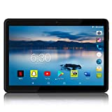 Android Tablet 10 inch with 2.5D Curved Glass IPS Screen, Unlocked Wi-Fi 3G Phablet 4 GB RAM 64 GB Storage Dual Cameras, Supports Bluetooth GPS (Black)