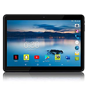 Android Tablet 10 inch with 2.5D Curved Glass IPS Screen, Unlocked Wi-Fi 3G Phablet 4 GB RAM 64 GB Storage Dual Cameras, Supports Bluetooth GPS