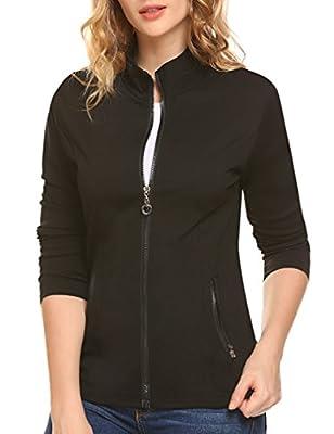 Naggoo Women's Slim Fit Lightweight Full Zip Jackets Coat with Pockets