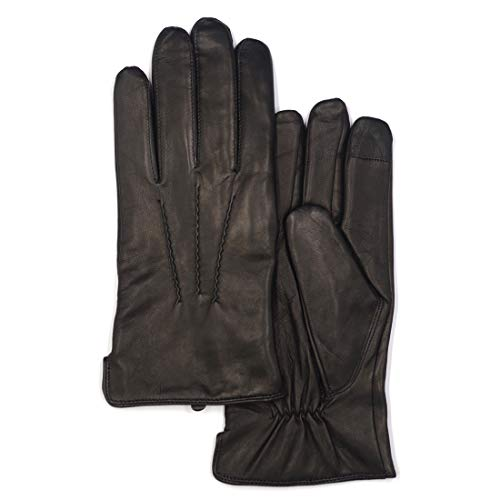 (Mens Touchscreen Luxury Nappa Lambskin Leather Gloves (100% Wool Lining),Black,Large)