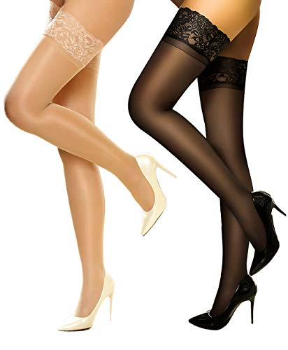 Sheer Thigh highs stockings Silicon Stay Up 2 Pair DancMolly Lace Tights for Women -