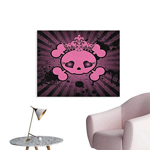 Anzhutwelve Skull Wall Sticker Decals Cute Skull Illustration with Crown Dark Grunge Style Teen Spooky Halloween Print The Office Poster Pink Black W36 xL24
