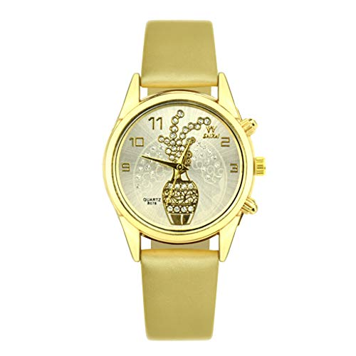 (LUXISDE Watch Women SHIKAI Ladies Leather Strap Creative Gift Quartz Watch ZYBSK-63 Lady Collection Yellow)