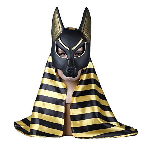 Shancon Egypt Death God Anubis Cosplay Mask Jackal Wolf Head Fox Headscarf Ἄνουβις Costume Masqurade ()