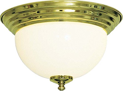 Medium Polished Flush Brass (Volume Lighting V7510-2 1-Light Flush Mount Ceiling Fixture, Polished Brass)