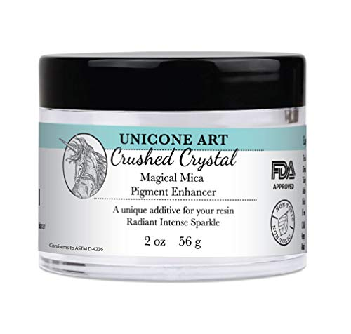 Crushed Crystal Magical Mica Pigment Enhancer for Resin | Large 2oz. Size | Non Toxic | Multi Use | Super Lustrous | Brilliant | Glittering Sparkling Affect